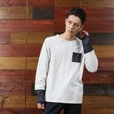 2017 A/W Knitted Switching Jersey Stretch Long Sleeve T-shirt