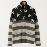 2017 A/W Stars And Stripes Shawl Color Long Sleeve Knitted Cardigan
