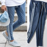 2017 A/W Men's Cut Denim Line Pants Sweat Sweat Skinny Indigo