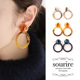 2017 A/W Pierced Earring Earring Tortoiseshell Button Ring Design Pierced Earring Earring