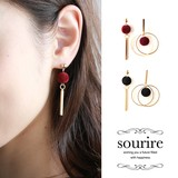 2017 A/W Pierced Earring Earring Felt Ball Double Ring