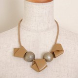 Leather Damage Stone Necklace