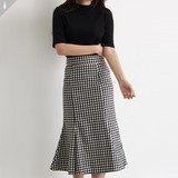 Skirt Checkered Long Skirt