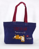 Fastener Attached A4 Tote Bag Shibatasan Navy