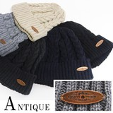 A/W Knitted Cap Antique Plate Patch Acrylic Watch Cap Cap