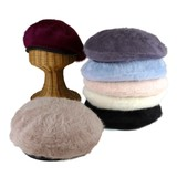 A/W Leather Piping Angola Beret Ladies Hats & Cap