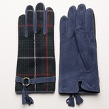 Checkered Leather Switching Glove Glove