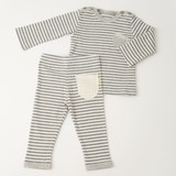 Stripe T-shirt & Stripe Leggings Box Set【organic cotton 100%】