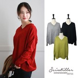 A/W Knitted V-neck Pullover Washable Knitted