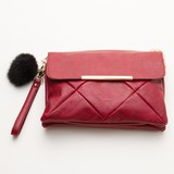Fur Attached Kilting Clutch Bag