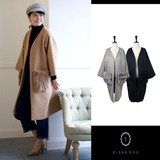 Removal Pocket Real Fur Attached Non-colored Robe Coat Wool