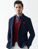 2017 A/W Italy Fabric Wool Knitted Jersey Jacket Knitted Jacket A/W Navy