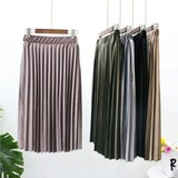 2017 A/W Ladies Velour Pleats Skirt