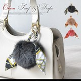 3 Colors Bag Charm Scarf Attached Fox Fur Charm Ladies
