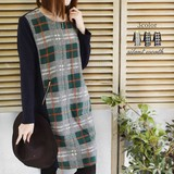 2017 A/W Gigging Large Format Checkered Color Scheme One-piece Dress