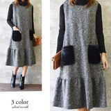 2017 A/W Fluffy Pocket Tweed Flare Switching One-piece Dress