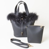 Fur Attached Bucket Bag Pouch Attached