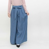 Ribbon Attached Denim Gaucho Pants Waist Specification