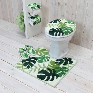 Set Monstera Green Toilet Kitchen Mat