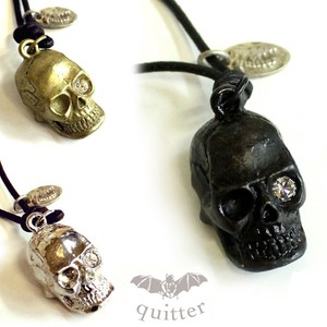Skull Vintage Processing Leather Necklace Maid Japan