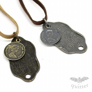 Antique Coin Leather Necklace Maid Japan