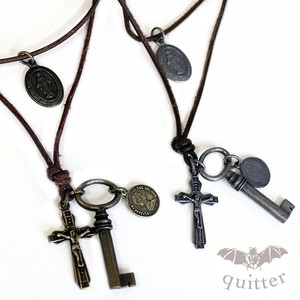 Double Necklace Christ Coin Vintage Processing Leather Maid Japan