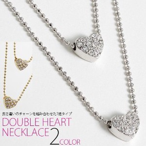 Double Chain Specification Double Chain Stone Heart Necklace