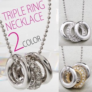 Triple Charm Specification Ladies Triple Ring Necklace 2 Colors