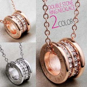 Pave Specification Double Stone Ring Pendant Attached Necklace 2 Colors