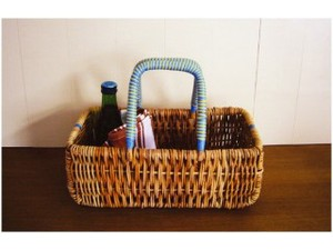 Alarog Blue Handle Basket Natural Antique Miscellaneous goods