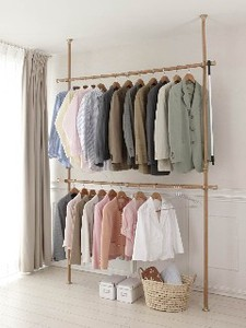 One touch Easy Tightly Pole Clothes Hanger Type Wood Grain