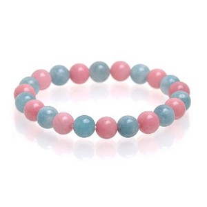 Natural stone Pink Blue Quartz Bracelet Birthstone Candy Color