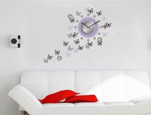 Sticker Clock/Watch Wall Deco Clock Butterfly Glitter
