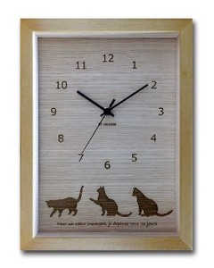 Cat Interior Clock Natural