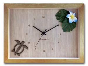 Hawaiian Clock Frangipani Blue Natural