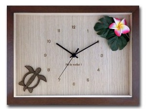 Hawaiian Clock Frangipani Pink Brown