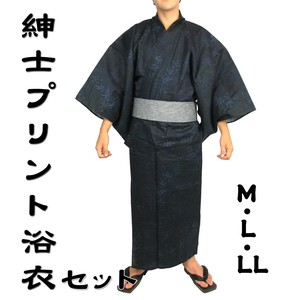 Attached Men's Print Yukata Geta 4-unit Set Men's