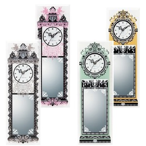 Glass Clock Mirror Antique Wall Clock Mirror Wooden