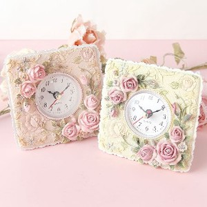 Christmas Rose Clock Pink Ivory