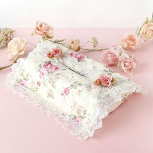 Rose Tissue Box Cover Ivory Base