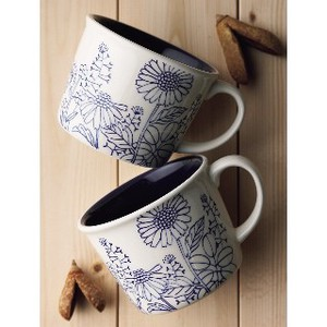 Pair Mag Cups Cup Gift Plants Plants Cafe Flower Coffee Drawer