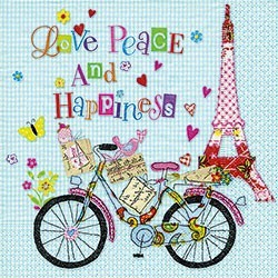 Aper Paper Napkin Eiffel Tower Bicycle