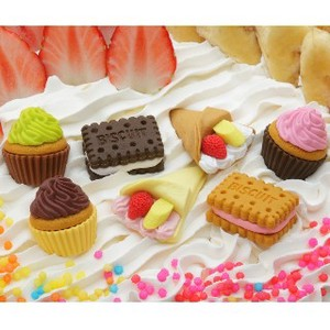 IWAKO Cake Eraser 7 Types 60 Pcs Bottle