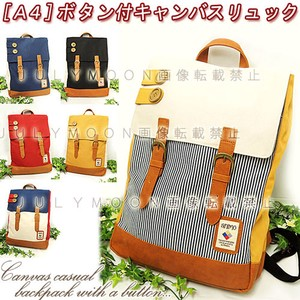 A4 Back Mesh Commuting Going To School Button Canvas Synthetic Leather Backpack