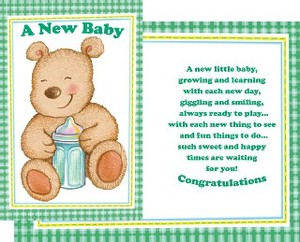 Greeting Card Birth baby bottle