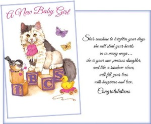Greeting Card Birth For Girl Cat Small Birds