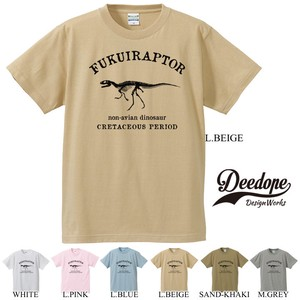 "【DEEDOPE】""FUKUIRAPTOR"" 半袖 プリント Tシャツ 綿100% カットソー 恐竜"