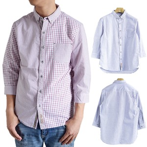 Checkered Switching Three-Quarter Length Button Down Shirt