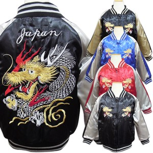 for School Embroidery Sukajan Jacket Outerwear