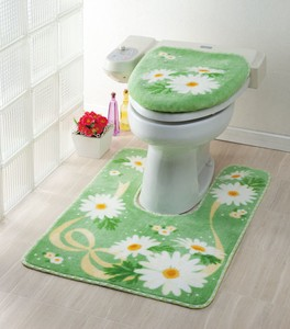Toilet Mat Marie Green Floral Pattern Ribbon